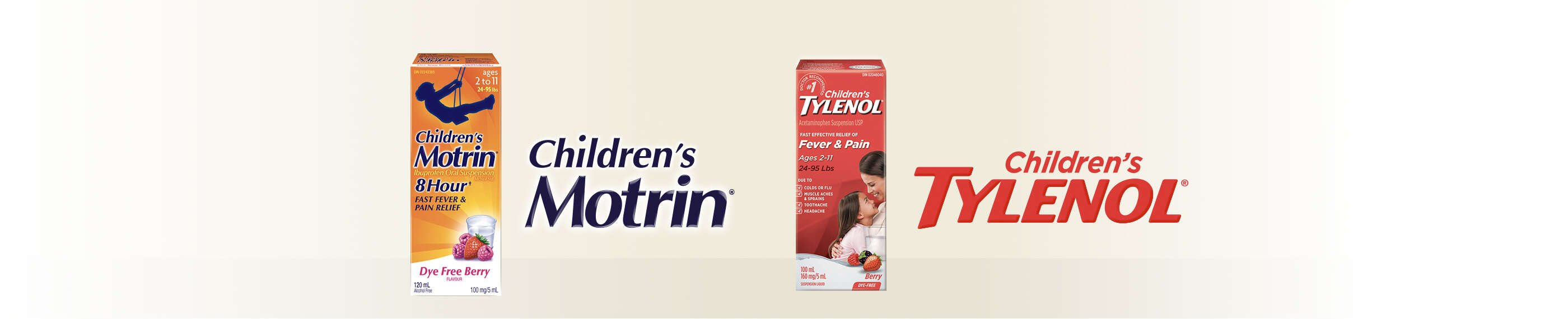 Children's Motrin and Children's Tylenol packaging