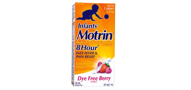 Infants' Motrin Dye Free Berry flavor packaging