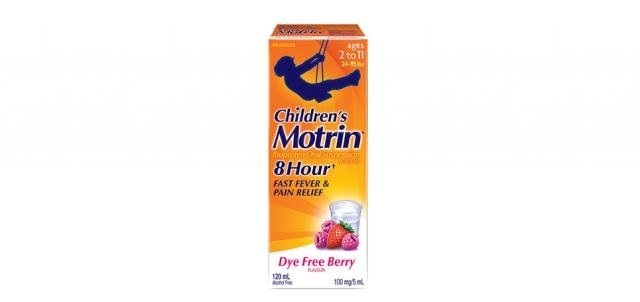 Children's Motrin Dye Free Berry flavor packaging