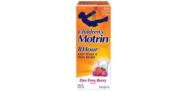 Children's Motrin Dye Free Berry flavor packaging